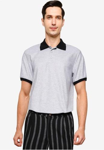 ZALORA BASICS grey Contrast Collar Polo Shirt 98143AAF0F7483GS_1