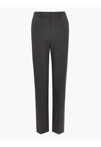 MARKS & SPENCER grey M&S Straight Leg Ankle Grazer Trousers EFF81AAD238D48GS_1