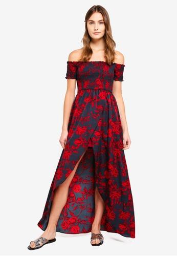 Preen & Proper multi Smock Top Off Shoulder Maxi Dress 324FFAA2C16AFAGS_1