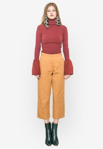拼色esprit 鞋喇叭袖高領上衣, 服飾, 上衣