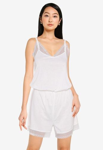 ZALORA BASICS 白色 Lounge 蕾絲滾邊Jersey 連身短褲 8CDBDAACFF3001GS_1