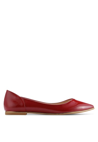 ZALORA red Basic Pointed Ballerinas 1FD86SH4EC5D02GS_1