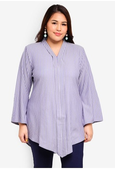 1b8fcbe0aae Gene Martino blue Plus Size Stripe Top 62386AA91F9C43GS 1