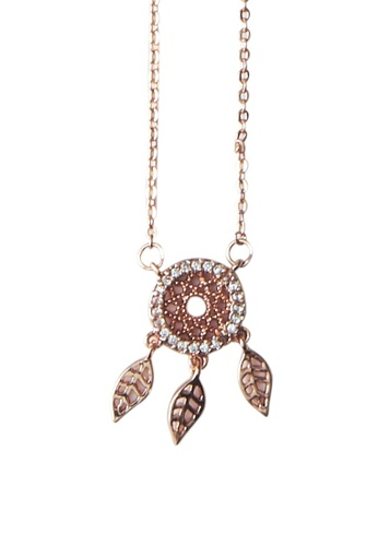 My Flash Trash gold Dream Catcher CZ Necklace B3AE3AC8AC7992GS_1