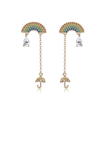 Glamorousky silver 925 Sterling Silver Plated Gold Fashion Rainbow Umbrella Tassel Cubic Zircon Earrings D984FAC298D5DCGS_1