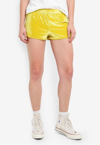 TOPSHOP yellow and multi Velour Running Shorts 76BB3AAC653554GS_1