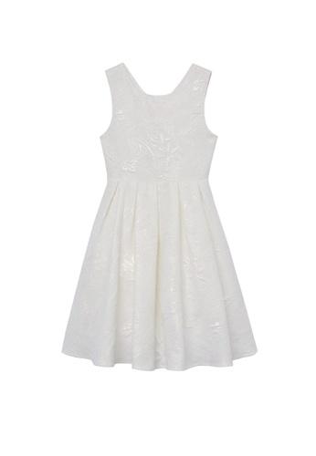 MANGO KIDS white Floral Jacquard Dress 61992KA031AF0EGS_1