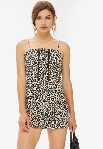 TOPSHOP brown Leopard Crochet Romper EA4F4AAEC786BDGS_1