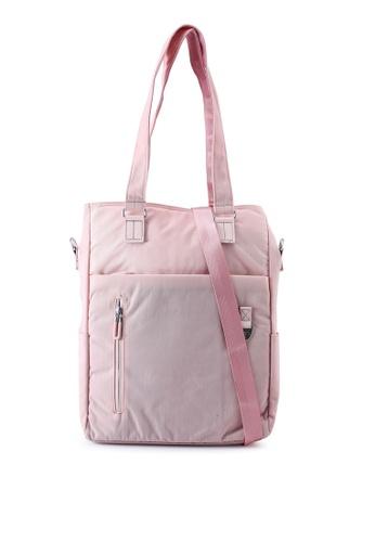Bagstationz pink Nylon Convertible Laptop Tote Bag 60EEDACBA38FB8GS_1
