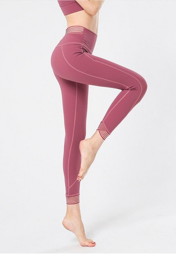 B-Code pink ZYG3067-Lady Quick Drying Running Fitness Yoga Sports Leggings -Pink 2BB61AA80A4FB6GS_1