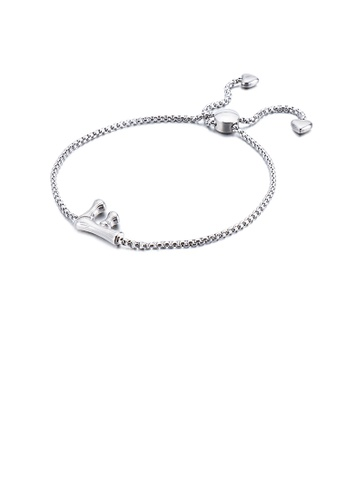 Glamorousky silver Simple and Fashion English Alphabet F 316L Stainless Steel Bracelet C7F35ACB218CE2GS_1