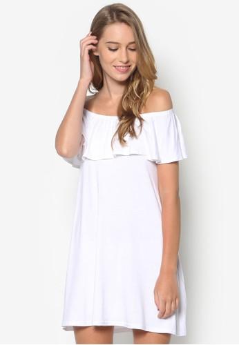 esprit outlet 桃園露肩荷葉飾連身裙, 服飾, 洋裝