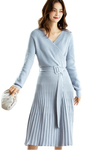 Sunnydaysweety 藍色 交叉V領系帶百褶針織連身裙A092210BL 2A4A7AA0412A57GS_1