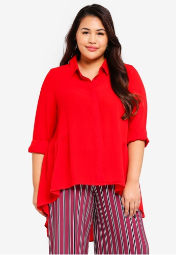 Only CARMAKOMA red Plus Size Solid Long Shirt 7D7F0AAFBDC7B5GS_1