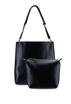 41850a428a Perllini Mel black Faux Leather Bag-In-Bag Single Handle Bag  C6CABAC58599BFGS 1