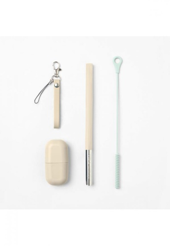 Viida beige [VIIDA] Morgen UiU Collapsible Straw Set With Cleansing Brush, BEIGE (M Series) 1.2cm, Premium 316 Stainless Steel & Silicone body - 6 Colors Available B13DBHLF7F2186GS_1