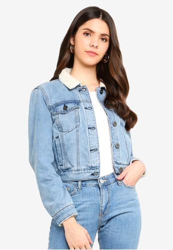 Cotton On blue Girlfriend Sherpa Denim Jacket 53447AA5B29977GS_1