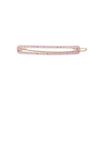 Glamorousky white Fashion Simple Pink Geometric Long Strip Hair Clip with Cubic Zirconia 7039CAC33AAEDEGS_1