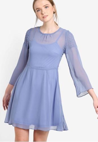 薄紗層疊長袖連身裙,esprit hk 服飾, 洋裝