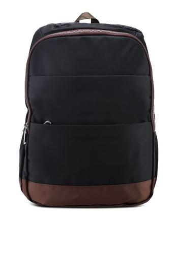 NUVEAU black Colour Block Nylon Backpack 997C2ACC27C9FCGS_1