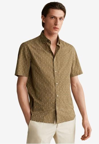 MANGO Man beige Slim Fit Printed Cotton Shirt 05793AA2E57DEAGS_1