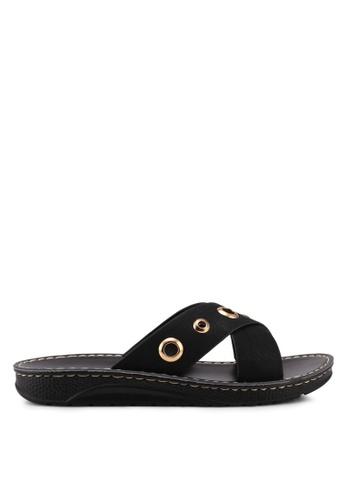 Noveni black Slide On Sandals E0384SH772471FGS_1