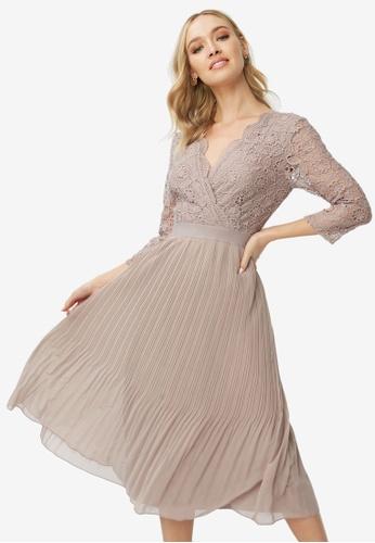 order nice cheap store Shop Little Mistress Oyster Pleated Midi Dress Online on ZALORA ...