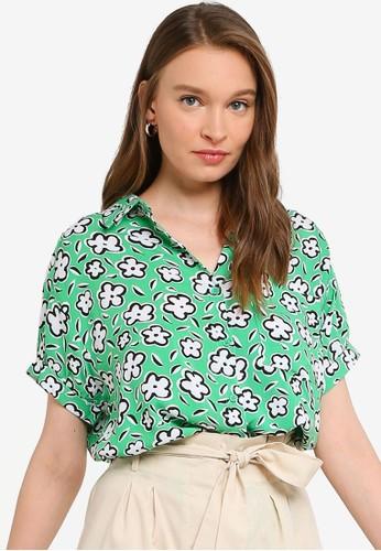 Compania Fantastica green Floral Pocket Shirt 3CC4BAA129EFC8GS_1