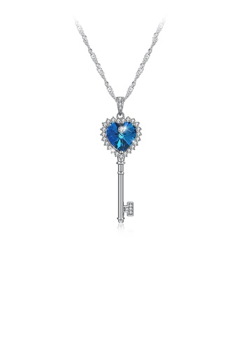 Glamorousky white 925 Sterling Silver Heart Key Pendant with Blue Austrian Element Crystal and Necklace 685D4AC3BC8A6FGS_1