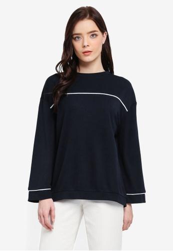 Zalia navy Contrast Piping Sweater 4F655AA18CB48DGS_1