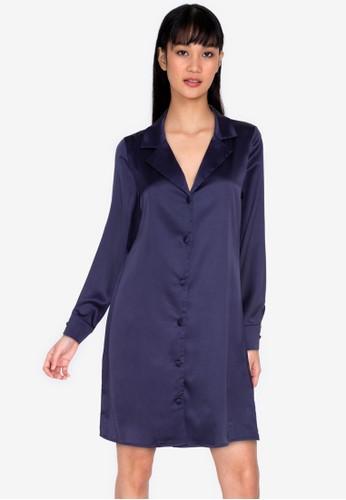 ZALORA BASICS navy Satin Shirt Dress 47EC8AA4BF30C6GS_1