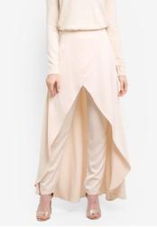Zalia blue and beige Satin Dip Hem Skirt Pants 190F8ZZ245FB01GS_1