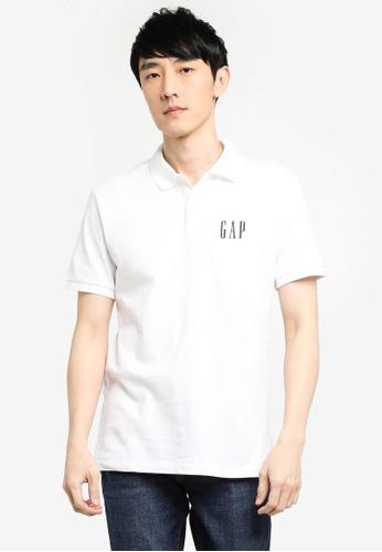 GAP white Logo Pique Polo Shirt FE0FEAA990F566GS_1