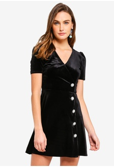 eed4217596 Velvet Embellished Button Mini Dress 4D469AA66F6D48GS 1
