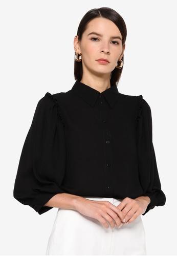 Vero Moda black Poel Pleat Shirt C95B9AA6F8D351GS_1