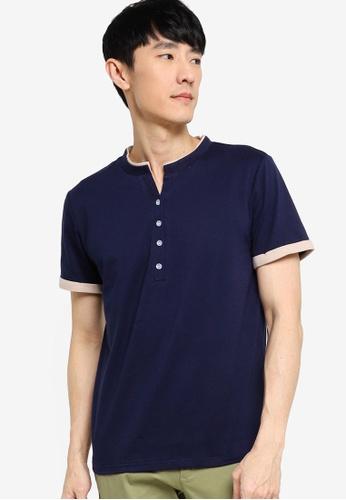 ZALORA BASICS navy Button Down Contrast T-shirt 59E82AA2430392GS_1