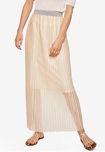 MANGO beige Metallic Pleated Skirt 433F7AA2C0EEF7GS_1