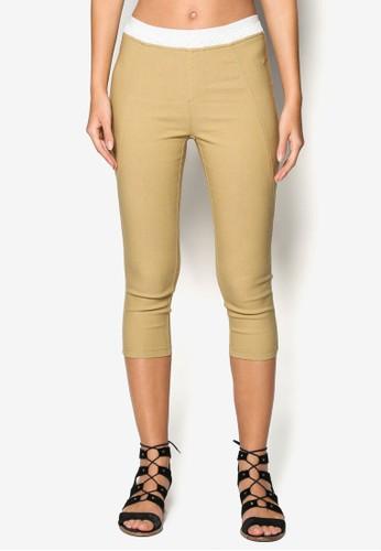 蕾絲拼接esprit outlet 高雄七分褲, 服飾, 長褲及內搭褲