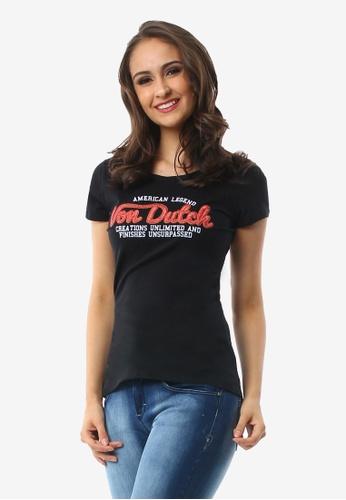 Von Dutch black Ladies Graphic Round Neck T-shirt ED278AACDBEE9EGS_1