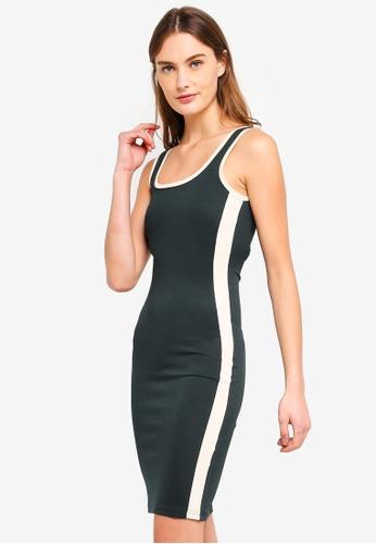 ZALORA BASICS green Basic Colourblock Bodycon Dress 8656AAA75EDC29GS_1