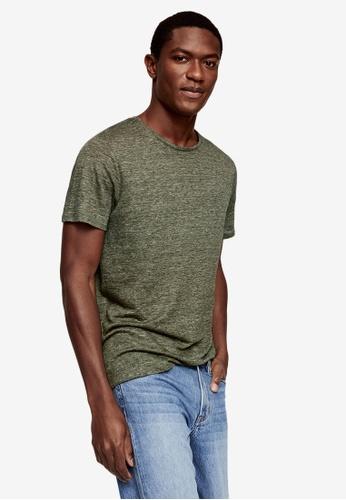 MANGO Man green Regular Fit Linen T-Shirt BB791AA11F7219GS_1