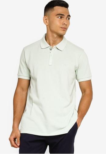Sacoor Brothers green Short sleeve cotton polo piquet garment dye 351D9AA5C27FA3GS_1