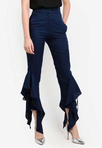 KREE blue Blair Frilled Pants KR967AA0RZ6BMY_1