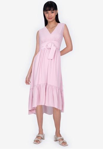ZALORA BASICS pink Plunge Neck Tiered Dress C868BAA75963EFGS_1