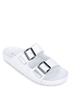 Double Buckle Strap Flat Sandals