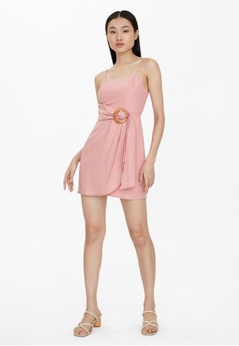 Pomelo pink Mini Belted Dress - Pink CDAA5AA5EB36CCGS_1