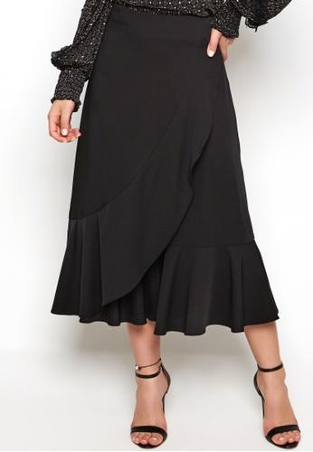 Nichii black Asymmetric Ruffle Culottes E694AAAA4A162FGS_1