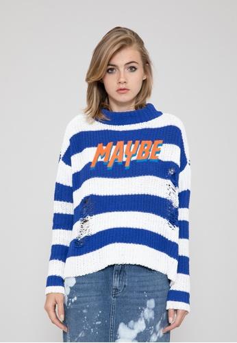 70b8bb69c2583a SH by SILVIAN HEACH multi MAYBE Blue Stripes Sweater B11CCAA502725FGS 1