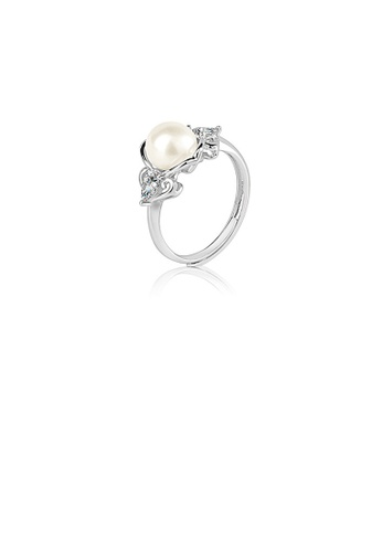 Glamorousky white 925 Sterling Silver Fashion and Elegant Geometric White Freshwater Pearl Adjustable Ring with Cubic Zirconia C8E31ACFC21EE8GS_1