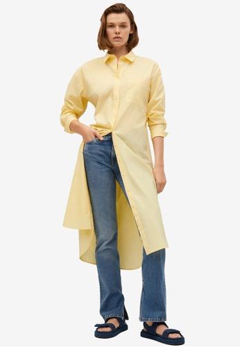 Mango yellow Cotton Shirt Dress 36C7DAA9C1CD56GS_1